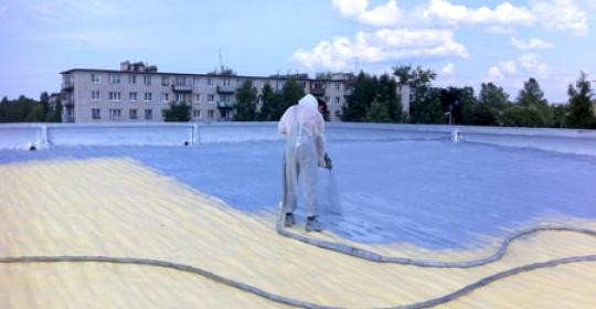 Утеплення і гідроізоляція плоского даху напиленням ППУ